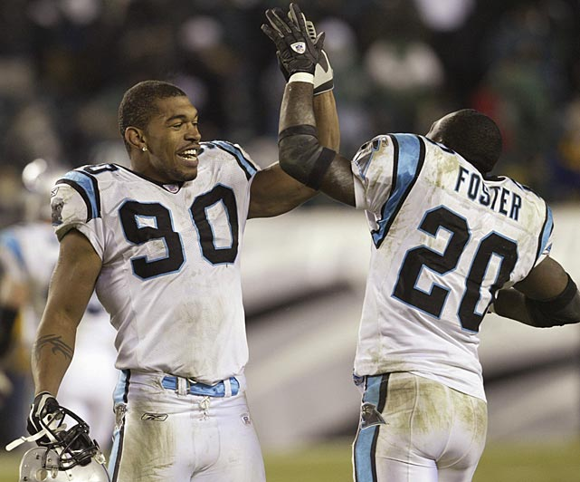 In his only Birthday Game, Julius Peppers (90) received one of the best presents an NFL player can wish for -- a trip to the Super Bowl. The second-year defensive end made two tackles in a 14-3 win over Philadelphia in the NFC Championship game. Carolina would go on to lose to New England in one of the best Super Bowls ever -- 32-29.