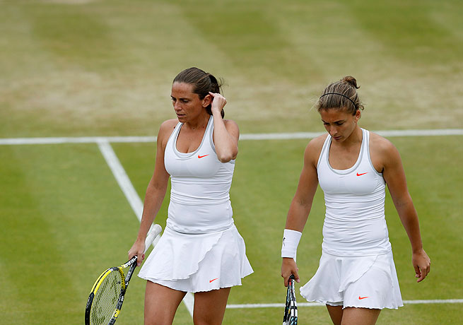 Sara Errani (right) and Roberta Vinci, seen here at Wimbledon, are doubles partners.