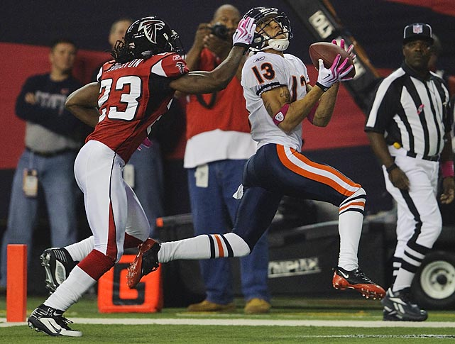 Johnny Knox burned Chris Houston for this second-quarter touchdown on the cornerback's 25th birthday, but Chris got the last laugh as the Falcons won 21-14. The Bears were six yards away from a tying touchdown with 34 seconds left, but Jay Cutler threw incomplete to Desmond Clark on fourth down.