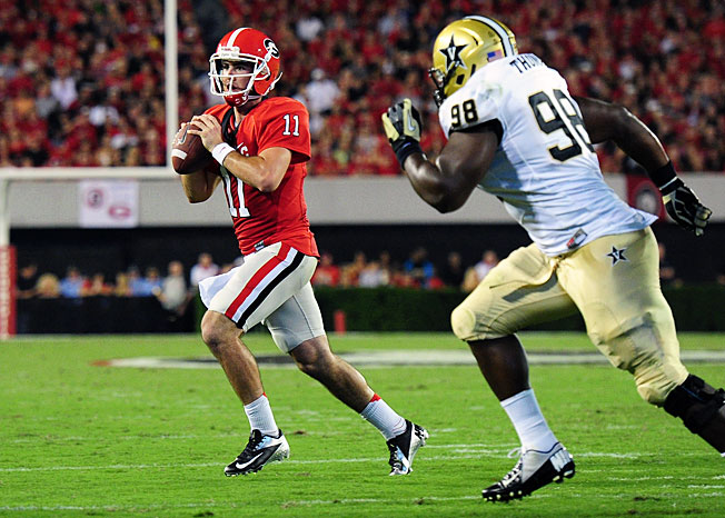 Quarterback Aaron Murray (11) has thrown for 10,091 yards and 95 TDs in his three-year Georgia career.