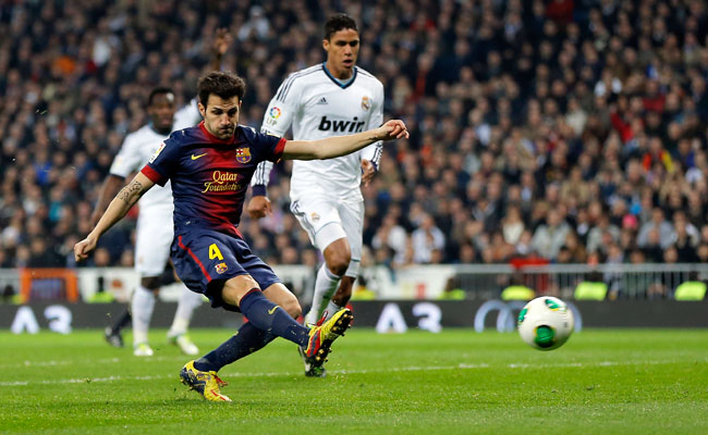 Midfielder Cesc Fabregas left Arsenal two years ago to play for Barcelona.