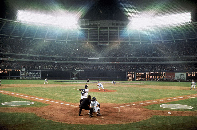 Hank Aaron took over as baseball's all-time home run king with No. 715 off the Dodgers' Al Downing. The game was delayed 11 minutes for a celebration.
