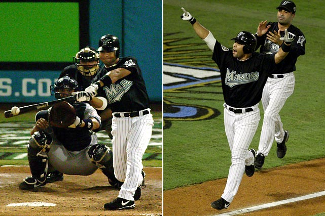 Marlins shortstop Alex Gonzalez ended the second-longest game in World Series history with this shot off Yankees reliever Jeff Weaver. The win evened the Series at 2-2. Florida went on to win in six games.