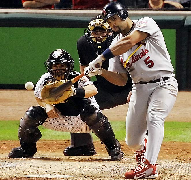 Houston was ready to celebrate the Astros' first NL championship, but Albert Pujols took the air out of Minute Maid Park with this three-run blast in the top of the ninth of Game 5. The Astros went on to win the series in Game 6 in St. Louis.