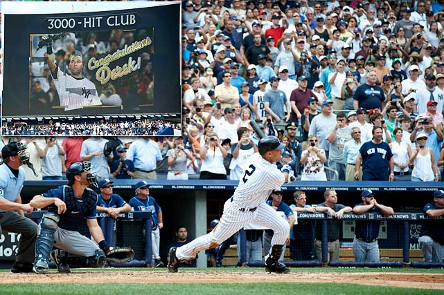 Jeter's 3,000th hit came in dramatic fashion. He became the second member of the 28-man club to mark his entrance with a home run, joining former teammate Wade Boggs. Jeter took the Rays' David Price deep in the third inning, the second hit of the day for No. 2 and at precisely 2 p.m.