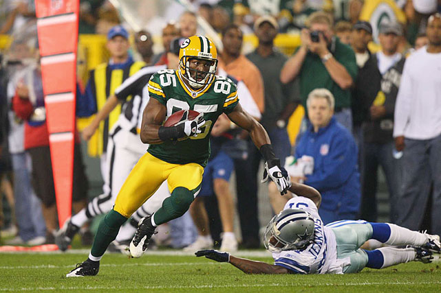 On his 25th birthday and in Aaron Rodgers' third game as the starting quarterback for Green Bay, Greg Jennings caught a team-high eight passes for 115 yards (a 27-16 home loss to Dallas). It was a sign of good things to come as Jennings would finish the year with a career-high 80 catches and a career-high 1,292 receiving yards.