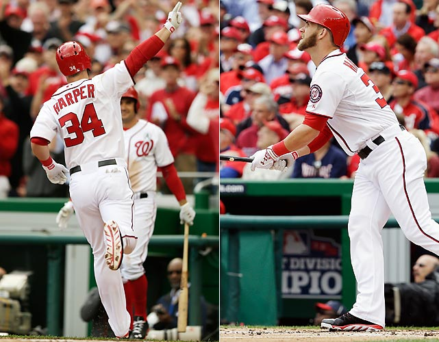 Bryce Harper got the 2013 season off on the right foot, literally, using his signature front-foot swing to blast a solo home run off the Marlins' Ricky Nolasco on the second pitch he saw this season in the bottom of the first inning on Opening Day. Harper homered off Nolasco again in the third inning to become the first player to hit two home runs on Opening Day since 2011 and the first to homer in his first two at-bats on Opening Day since Garrett Jones in 2010.
