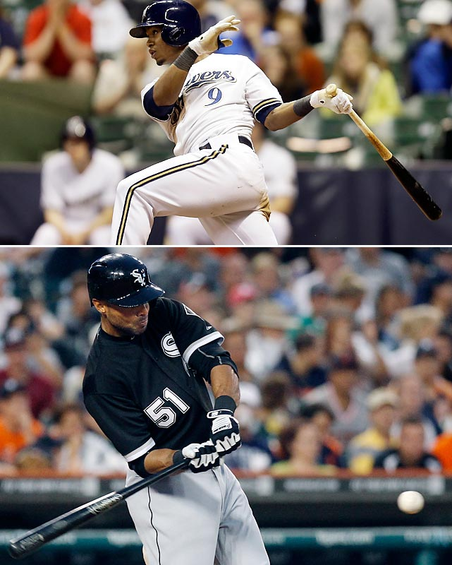No player in the majors got six hits in a game in 2010, 2011 or 2012 but it happened twice in the first half of the 2013 season. On May 28, Milwaukee's Jean Segura went 6-for-7 -- all singles -- in a 14-inning loss to the Twins on May 28. On July 9, the White Sox' Alex Rios went 6-for-6 (five singles and a triple) in a win over the Tigers.