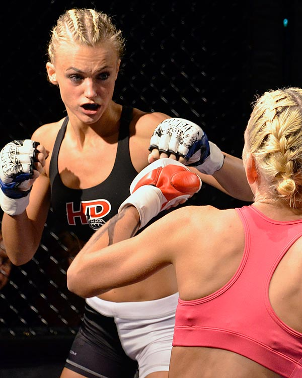After one season as a Kansas City Chiefs cheerleader, Rachel Wray made her amateur MMA debut at Ultimate Blue Corner Battles in Kansas City, Mo., in September 2012, winning on a second-round TKO.