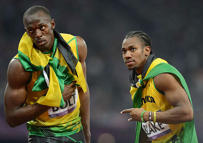 Yohan Blake (right) placed second to Usain Bolt in the 100 meters at the 2012 London Olympics.