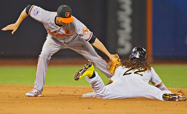 Andrew McCutchen steals second base under the tag of J.J. Hardy.