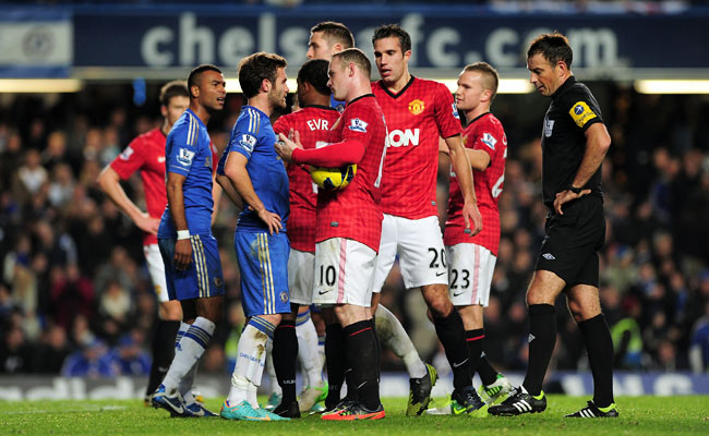 Chelsea denied rumors that it had offered Juan Mata (third from left) in its bid for Wayne Rooney (10).