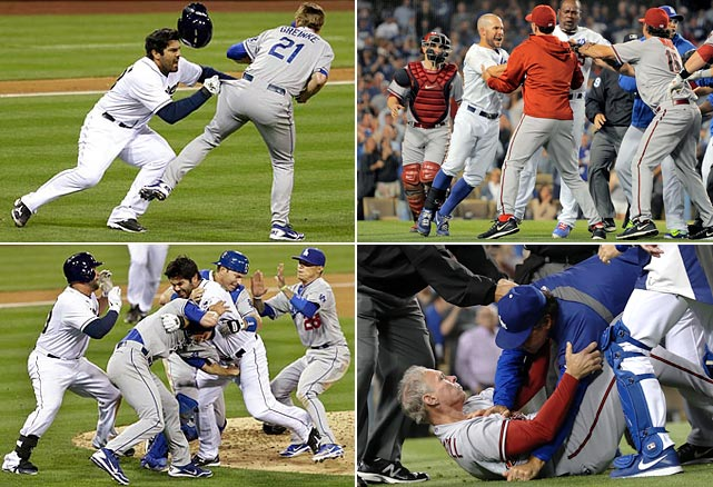 The 2013 season has seen a number of brawls, two of note involving Dodgers pitcher Zack Greinke. In the first fight, on April 11, Greinke hit the Padres' Carlos Quentin with a pitch, then suffered a broken collarbone when Quentin charged the mound and slammed into the pitcher. Greinke returned in mid-May and on June 11 he was at the center of another brawl, when he was himself hit by the Diamondbacks' Ian Kennedy, leading to a melee that led to six players being suspended.
