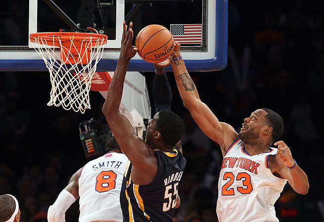 Veteran center Marcus Camby (right) appeared in 24 games with the Knicks last season.