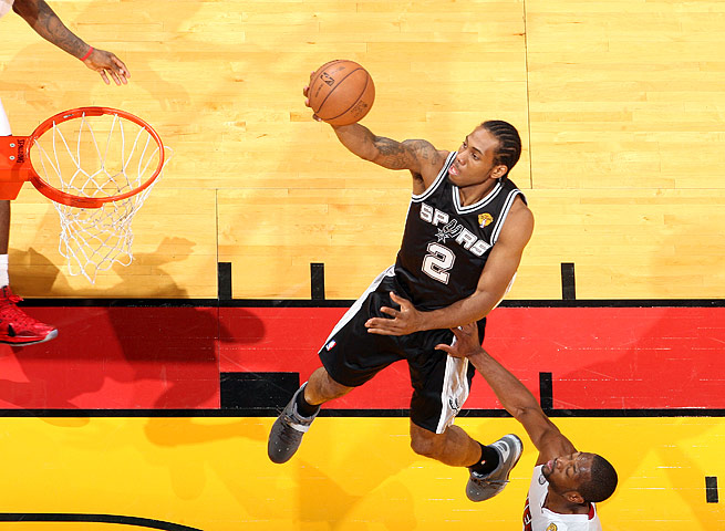 Spurs forward Kawhi Leonard averaged 13.5 points and nine rebounds in the playoffs.