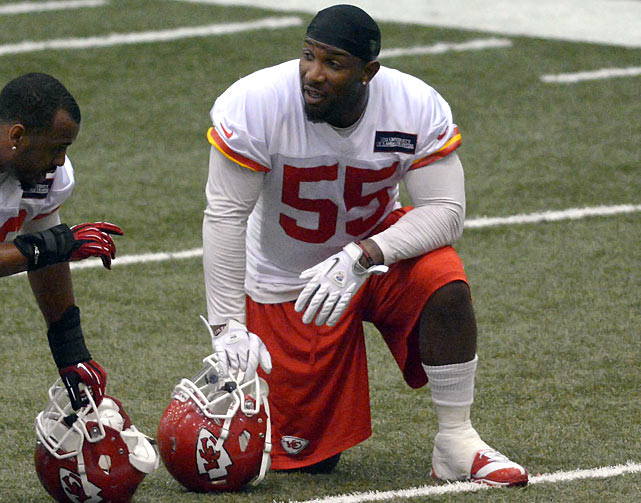 Kansas City is rock solid at three of four linebacker spots, with Tamba Hali, Justin Houston and Derrick Johnson. The second ILB job could fall to Jordan, who played for Andy Reid in Philadelphia and followed his coach to Kansas City as a free agent. Even an average showing from Jordan would give the Chiefs one of the league's best LB units.