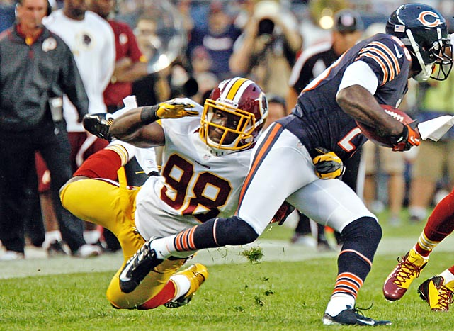 That other key Redskin coming back from injury. (Well, one of them -- TE Fred Davis is another.) Orakpo suffered a season-ending pectoral injury in Week 2 last season, but all reports from the nation's capital are that he's rarin' to go in 2013. If he returns to form, the Redskins' defense again will have its 1-2 punch of Orakpo and Ryan Kerrigan.