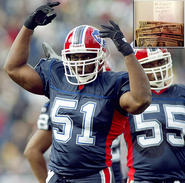 Takeo Spikes famously posted on his Instagram account last year a photo (inset) of the $36 his mother sent him for his 36th birthday. One can only assume he received similar gifts on the week of his two Birthday Games. The first was in 2000, when Neil Rackers kicked a 27-yard field goal as time expired to give Cleveland a 17-14 victory over Jacksonville. The second was in 2006, when Spikes had six tackles for Buffalo in a 21-0 win over Miami. Of course, as has been the case with all of Spikes' birthdays during his 15-year NFL tenure, they've been followed by December disappointment. His 219 games without nary a playoff appearance tops all active players.