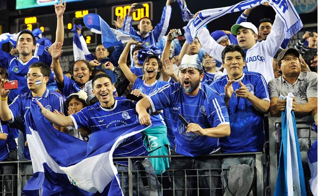 El Salvadoran fans cheer for their team after it qualified for the 2012 Olympics ahead of the U.S.