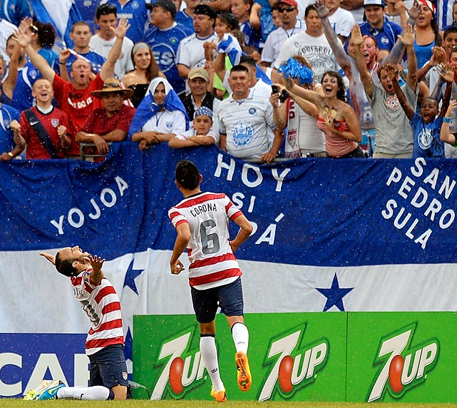 Donovan celebrates after scoring a goal against El Salvador during 5-1 victory over El Salvador in the 2013 CONCACAF Gold Cup quarterfinal in Baltimore.