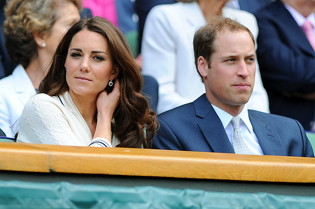 Prince William and Kate Middleton watch Andy Murray during his Wimbledon semi-final match against Roger Federer.