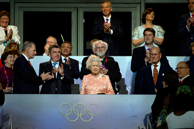 Queen Elizabeth II attends the opening ceremonies for the 2012 Olympics in London.