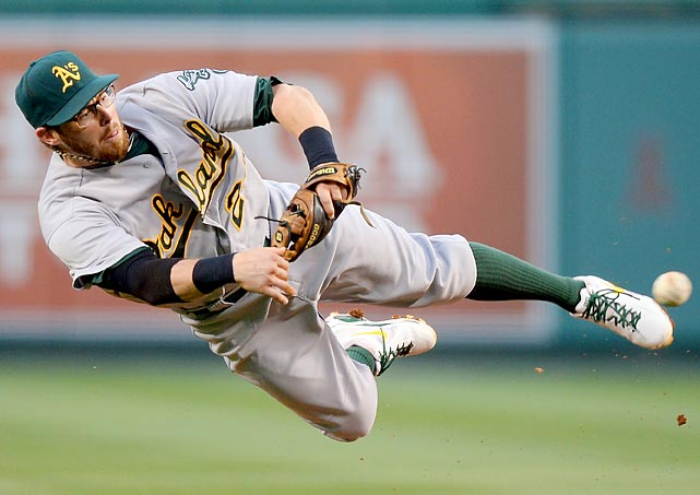 Eric Sogard of the Oakland Athletics makes a diving throw to first base which beat out the Los Angeles Angels' Chris Iannetta to end the second inning on July 19. The Angels won, 4-1.
