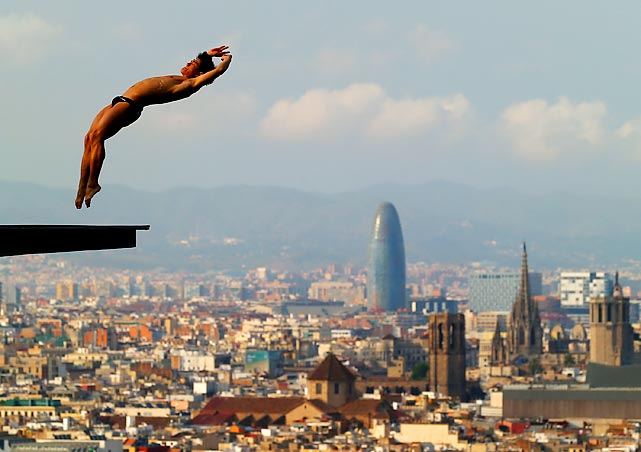 Jiho Park of South Korea dives during a training session ahead of the FINA World Championships in Barcelona.