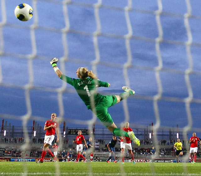Louisa Necib scores France's second goal past England goalkeeper Karen Bardsley during the 2013 UEFA Women's European Cup in Linkoping, Sweden. France won 3-0.