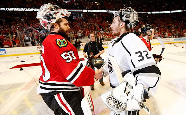 Corey Crawford (left) is in Canada's unsettled goaltending mix; Jonathan Quick tops Team USA's riches.