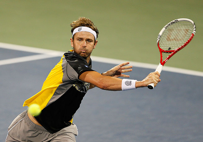 Mardy Fish was defeated by Michael Russell despite winning the first set in Atlanta.
