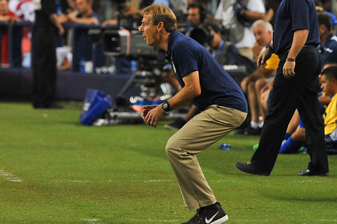 Jurgen Klinsmann was ejected in the 87th minute of Team USA's 3-1 semifinal victory over Honduras.