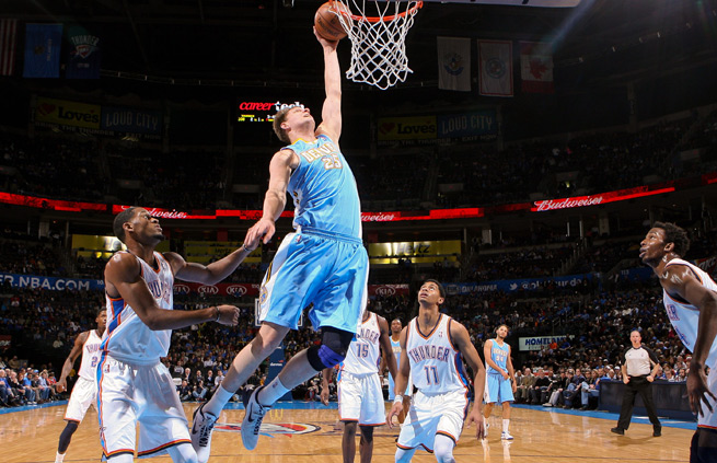Timofey Mozgov could get more minutes in Denver after Kosta Koufous' departure.