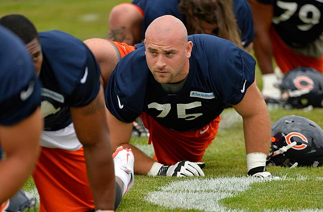 Bears guard Kyle Long of the Chicago Bears stretches while participating in camp.