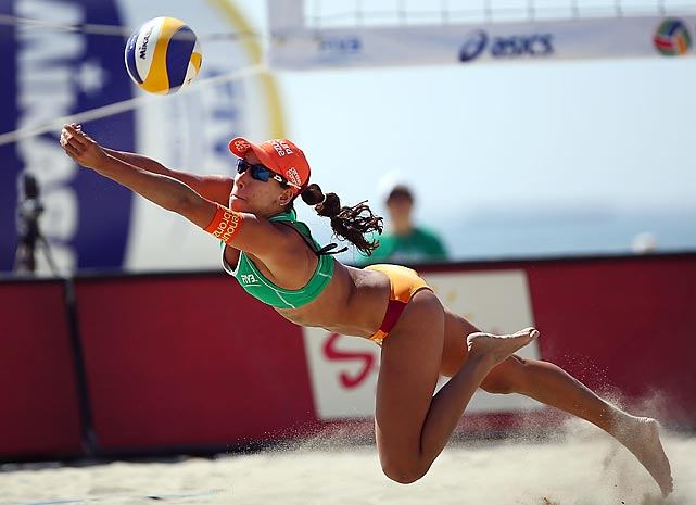 Brazil's Taiana Lima dives for a ball at the ASICS World Series Cup on July 27.