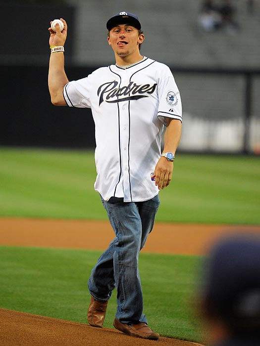 Manziel throws out the first pitch before a Padres game.