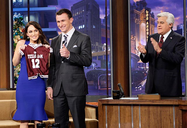 Megan Fox with Johnny Manziel during an interview with Jay Leno in December. Fox, then a new mother, holds a customized Texas A&M jersey Manziel gave her.