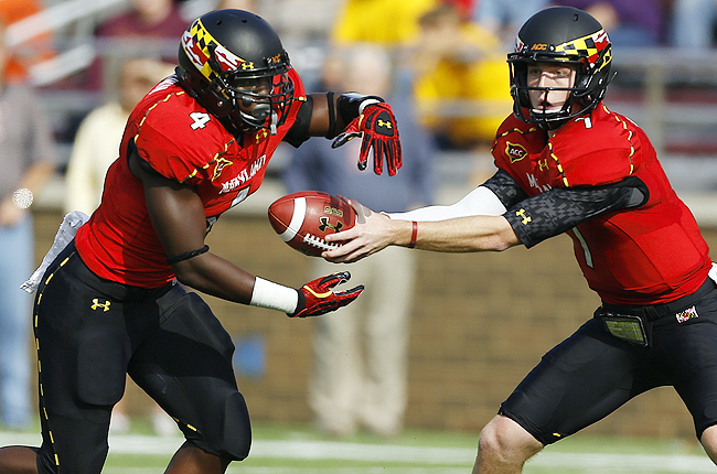 Brown (left) was the Terrapins' second-leading rusher as a freshman last season with 382 yards.