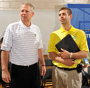 Danny Ainge (left) and Brad Stevens are charting a new course for the Celtics.