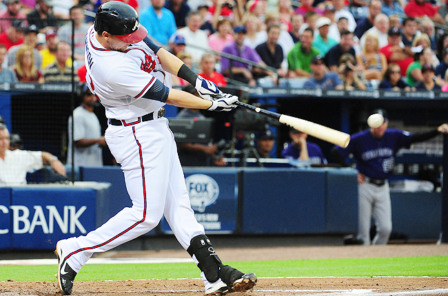 Johnson leads major league pinch hitters with a .355 batting average and a .444 on-base percentage.