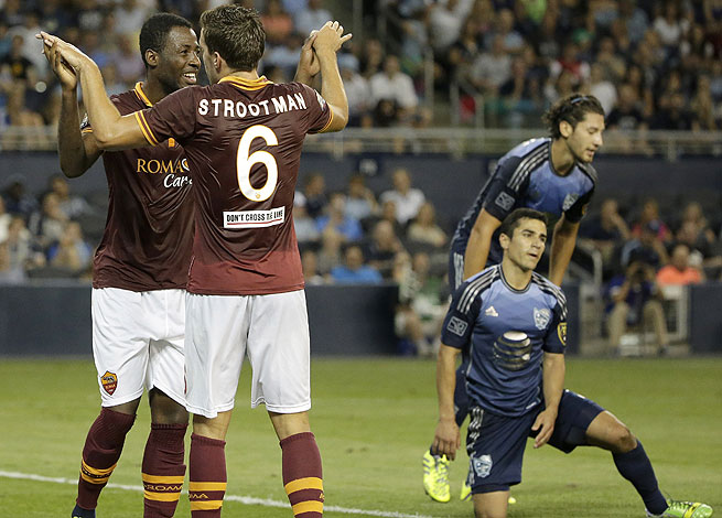 Junior Tallo (left), Kevin Strootman and Roma ran circles around an overmatched MLS All-Star squad.