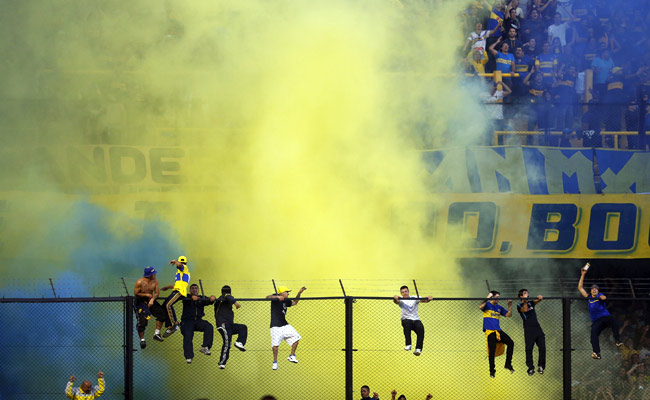 Boca Juniors fans cheer for their team in Buenos Aires.