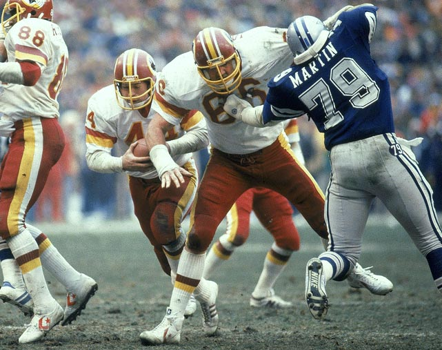 "In 13 years as a member of the ""Hogs,"" the Redskins' self-named group of offensive linemen, Jacoby started 148 of 170 games. He was a four-time Pro Bowl pick and a two-time, first-team All-Pro selection. He was a Hall of Fame finalist in 2005, 2008 and 2013. Also worthy of consideration: Bruce Armstrong, Chris Hinton, Mike Kenn, Lomas Brown and Jim Lachey."