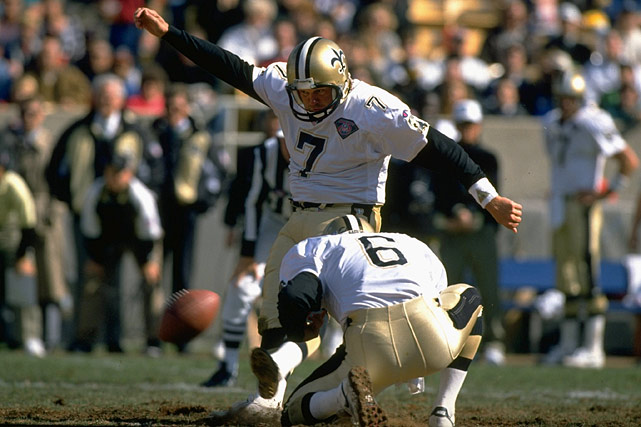 In a career that spanned a quarter of a century, Andersen played for the Saints, Falcons, Giants, Chiefs and Vikings. He owns NFL records for field goals (565) and points (2,544). He was a Hall of Fame finalist in 2013. Others worthy of consideration: Gary Anderson, Nick Lowery.