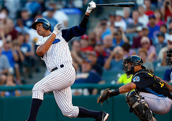 Alex Rodriguez homered in the third inning for the Trenton Thunder, the Yankees' Double A affiliate.