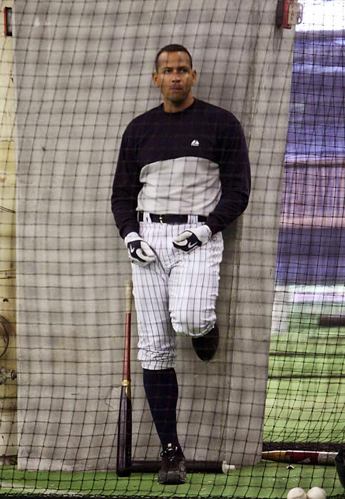 A-Rod waits to bat during Spring Training in 2010.