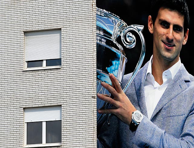 Serbian tennis player Novak Djokovic is seen on a building in Belgrade ahead of his Wimbledon final against Andy Murray.