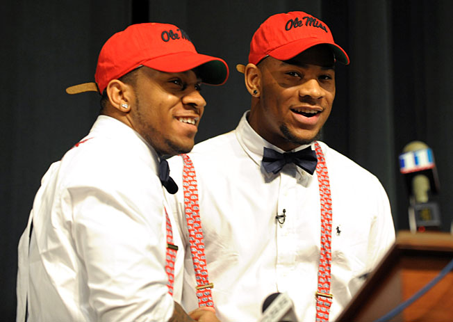 Prized defensive end Robert Nkemdiche (right) joins his brother Denzel on the Ole Miss defense in '13.