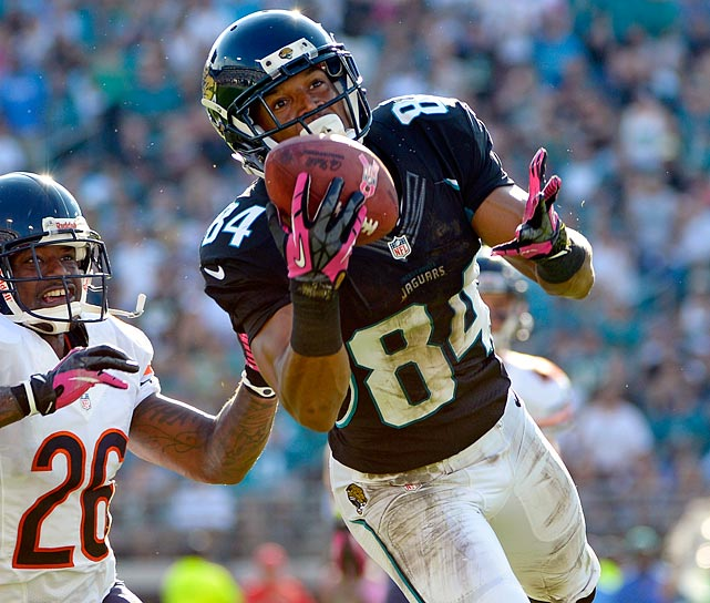 Cecil Shorts managed to transcend his fourth-round status in his second season of 2012 by amassing more receiving yards and touchdowns than Justin Blackmon, the Jags' first-round pick last year. He also had 17 receptions of 20 yards or more last season, which tied him with Steve Smith, Anquan Boldin, Randall Cobb, Mike Williams, and Julio Jones. Only Tampa Bay's Vincent Jackson had a higher yards per reception total than Shorts (who tied with San Diego's Danario Alexander at 17.8).