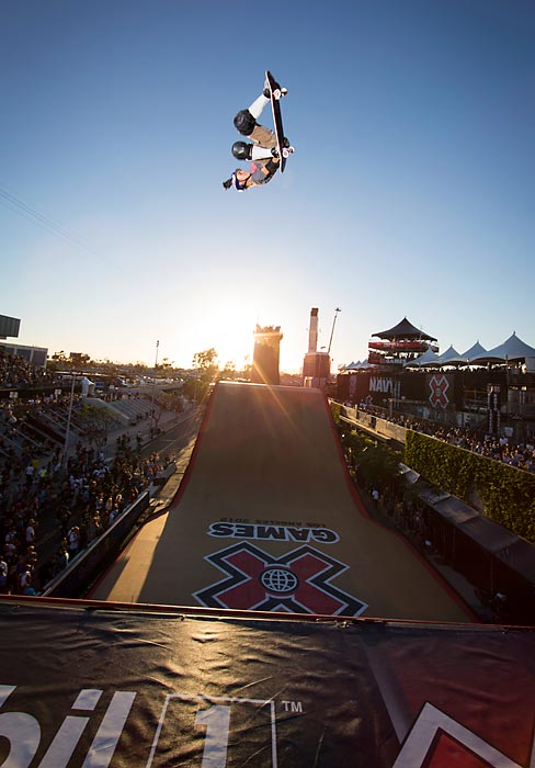 Alex Sorgente skates during the Skateboard Big Air Finals at the X Games in Los Angeles.
